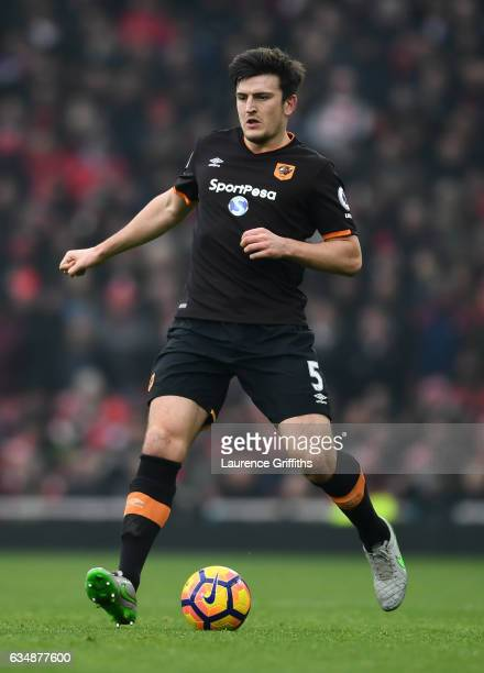 Harry Maguire of Hull City in action during the Premier League match between Arsenal and Hull City at Emirates Stadium on February 11 2017 in London...