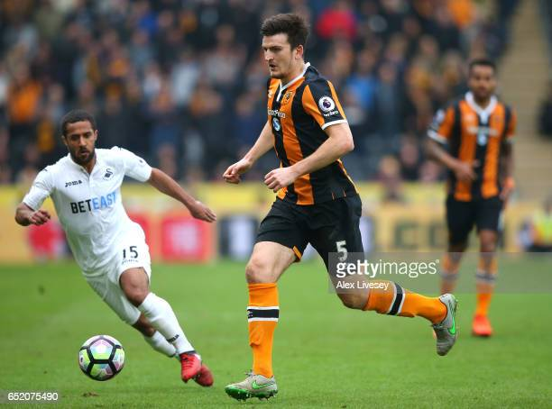 Harry Maguire of Hull City in action during the Premier League match between Hull City and Swansea City at KCOM Stadium on March 11 2017 in Hull...
