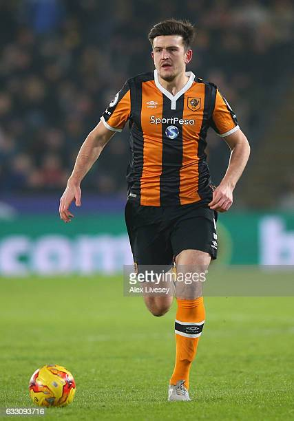 Harry Maguire of Hull City runs with the ball during the EFL Cup SemiFinal Second Legat KCOM Stadium on January 26 2017 in Hull England