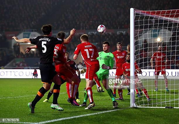 Harry Maguire of Hull City scores his sides first goal during the EFL Cup fourth round match between Bristol City and Hull City at Ashton Gate on...