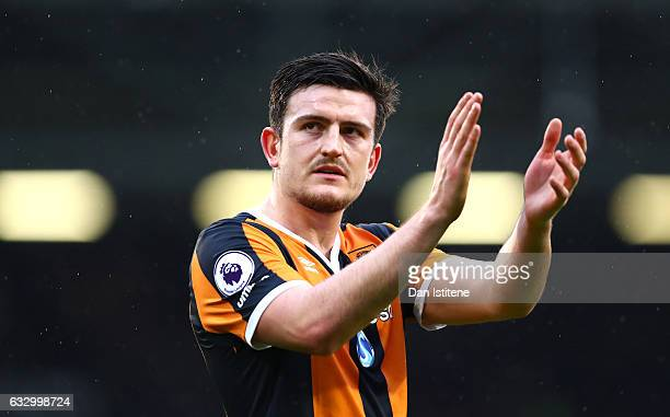 Harry Maguire of Hull City shows appreciation to the fans after The Emirates FA Cup Fourth Round match between Fulham and Hull City at Craven Cottage...