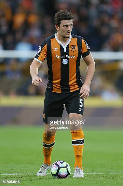 Harry Maguire of Hull during the Premier League match between Hull City and Arsenal at KCOM Stadium on September 17 2016 in Hull England