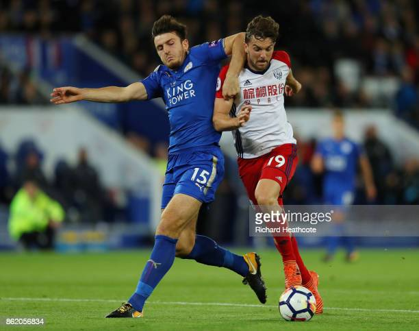 Harry Maguire of Leicester City and Jay Rodriguez of West Bromwich Albion in action during the Premier League match between Leicester City and West...