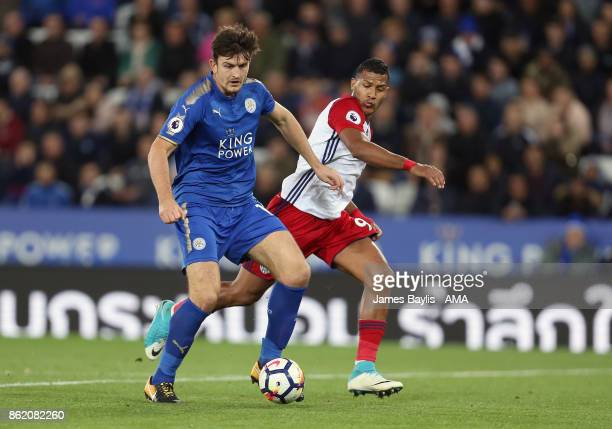 Harry Maguire of Leicester City and Salomon Rondon of West Bromwich Albion during the Premier League match between Leicester City and West Bromwich...