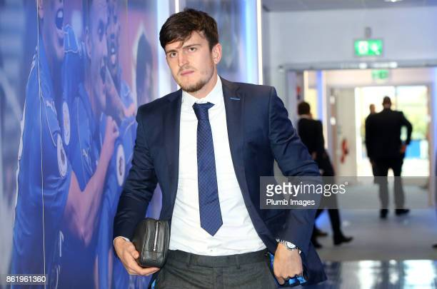 Harry Maguire of Leicester City arrives at King Power Stadium ahead of the Premier League match between Leicester City and West Bromwich Albion at...