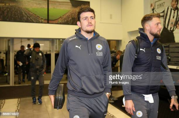 Harry Maguire of Leicester City arrives at St James Park ahead of the Premier League match between Newcastle United and Leicester City at St James...