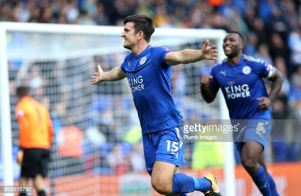 Harry Maguire of Leicester City celebrates after scoring to make it 20 during the Premier League match between Leicester City and Brighton and Hove...