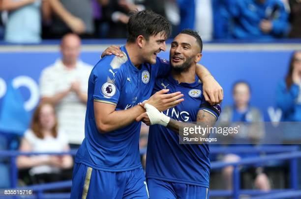 Harry Maguire of Leicester City celebrates with Danny Simpson of Leicester City after scoring to make it 20 during the Premier League match between...