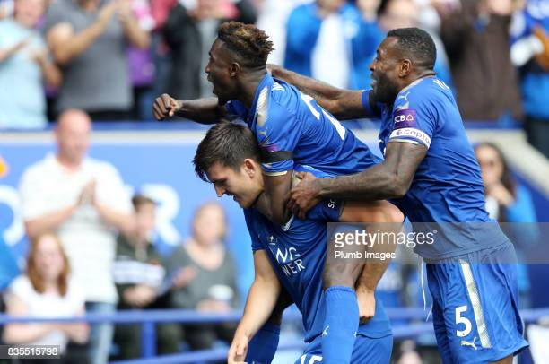 Harry Maguire of Leicester City celebrates with Wilfred Ndidi and Wes Morgan of Leicester City after scoring to make it 20 during the Premier League...