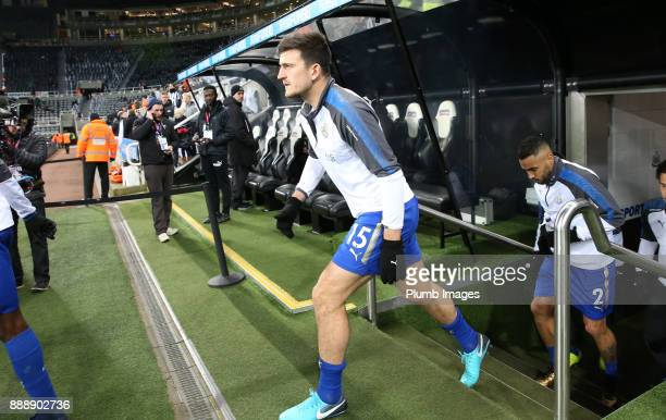 Harry Maguire of Leicester City heads out to warm up at St James Park ahead of the Premier League match between Newcastle United and Leicester City...