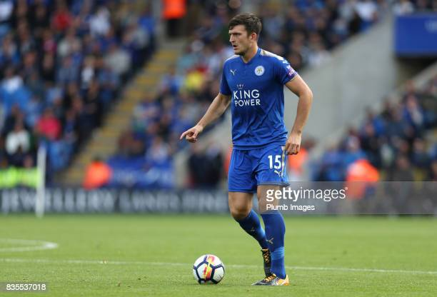 Harry Maguire of Leicester City in action during the Premier League match between Leicester City and Brighton and Hove Albion at King Power Stadium...