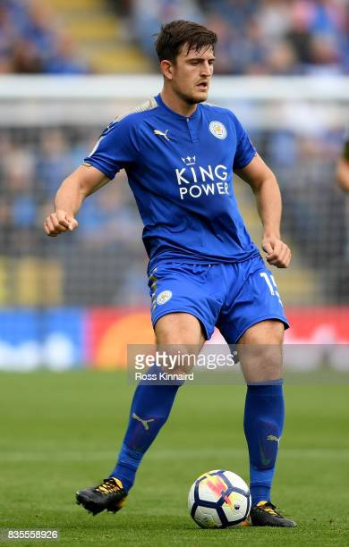 Harry Maguire of Leicester City in action during the Premier League match between Leicester City and Brighton and Hove Albion at The King Power...
