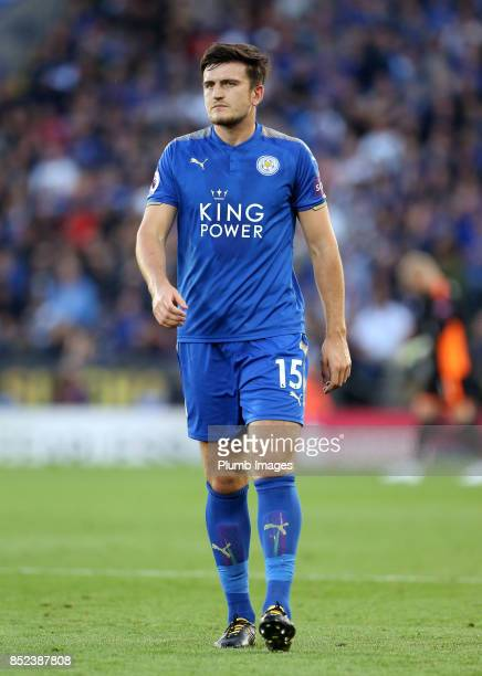 Harry Maguire of Leicester City looks on during the Premier League match between Leicester City and Liverpool at King Power Stadium on September 23rd...