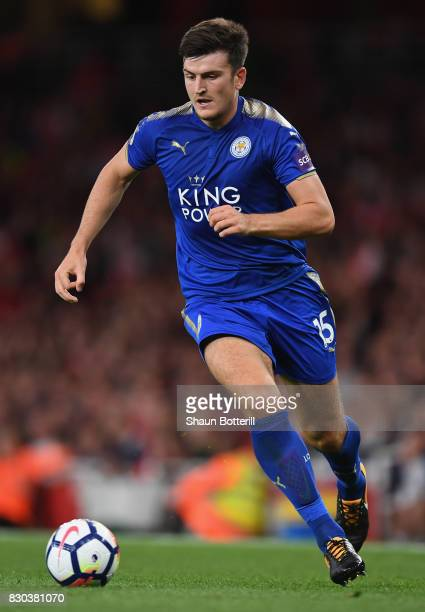 Harry Maguire of Leicester City runs with the ball during the Premier League match between Arsenal and Leicester City at Emirates Stadium on August...