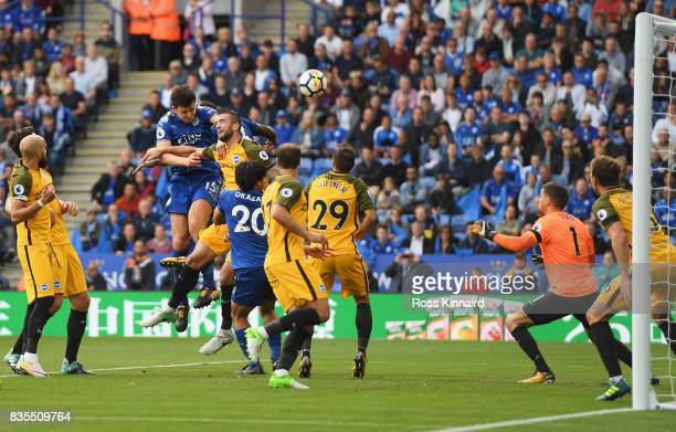 Harry Maguire of Leicester City scores his sides second goal during the Premier League match between Leicester City and Brighton and Hove Albion at...