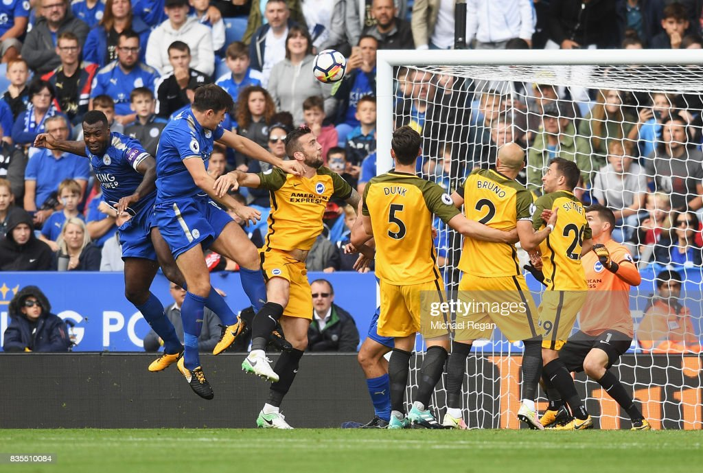 Harry Maguire of Leicester City scores his sides second goal during the Premier League match between Leicester City and Brighton and Hove Albion at The King Power Stadium on August 19, 2017 in Leicester, England.