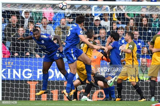 Harry Maguire of Leicester City scores to make it 20 during the Premier League match between Leicester City and Brighton and Hove Albion at King...