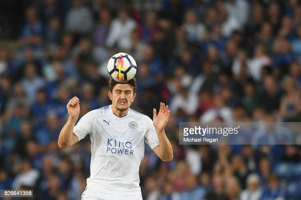 Harry Maguire of leicester in action during the preseason friendly match between Leicester City and Borussia Moenchengladbach at The King Power...