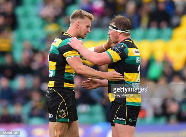 Harry Mallinder and Dylan Hartley of Northampton Saints celebrate their win during Champions Cup Playoff match between Northampton Saints and...
