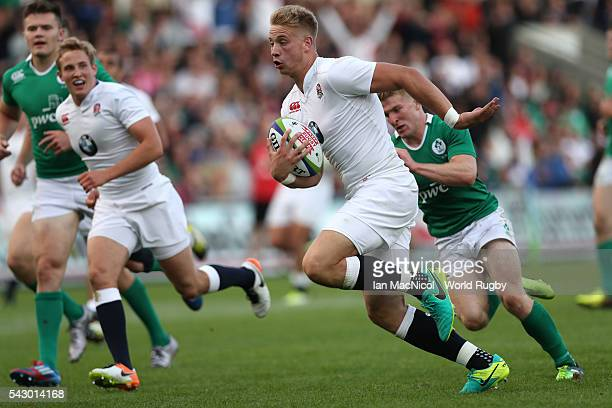 Harry Mallinder captain of England scores his second try during the final match against Ireland at AJ Bell Stadium on June 25 2016 in Salford England