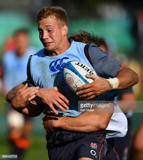 Harry Mallinder of England is tackled by Joe Launchbury of England during a training session at San Isidro Club on June 7 2017 in Buenos Aires...