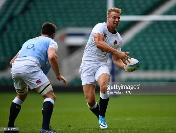 Harry Mallinder of England looks for a pass during a training session at Twickenham Stadium on June 2 2017 in London England