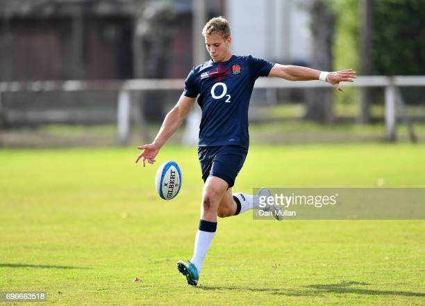 Harry Mallinder of England practices his kicking during a training session at Club Universitario on June 16 2017 in Santa Fe Santa Fe