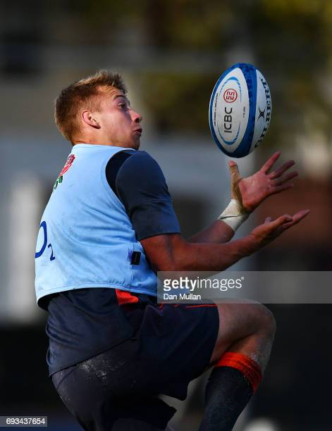 Harry Mallinder of England rises to claim a high ball during a training session at San Isidro Club on June 7 2017 in Buenos Aires Distrito Federal