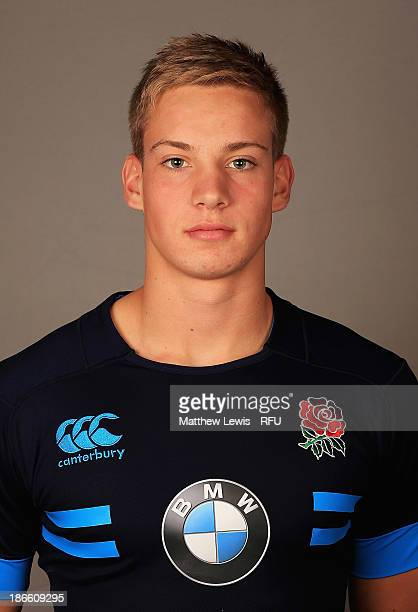 Harry Mallinder of England U18's poses for a portrait during an England Rugby Union U18's Headshot session at Loughborough University on November 1...
