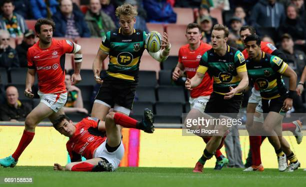 Harry Mallinder of Northampton breaks with the ball during the Aviva Premiership match between Northampton Saints and Saracens at Stadium mk on April...