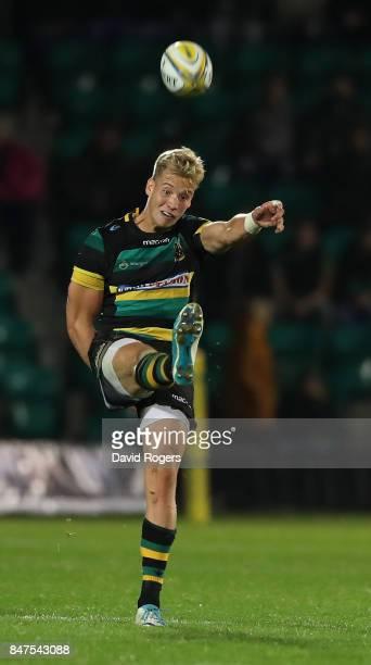 Harry Mallinder of Northampton kicks the ball upfield during the Aviva Premiership match between Northampton Saints and Bath Rugby at Franklin's...