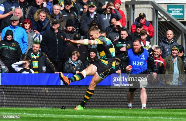 Harry Mallinder of Northampton Saints converts his own try during Champions Cup Playoff match between Northampton Saints and Connacht at Franklin's...