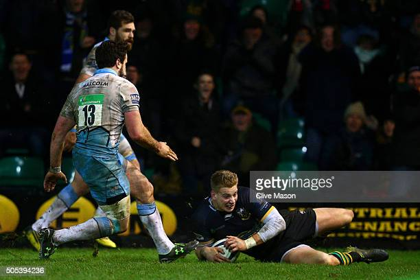 Harry Mallinder of Northampton Saints goes over to score to score the matchwinning try on the stroke of fulltime during the European Rugby Champions...