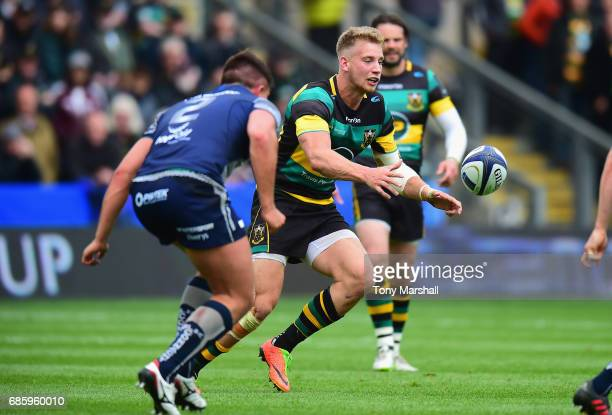 Harry Mallinder of Northampton Saints passes the ball during Champions Cup Playoff match between Northampton Saints and Connacht at Franklin's...