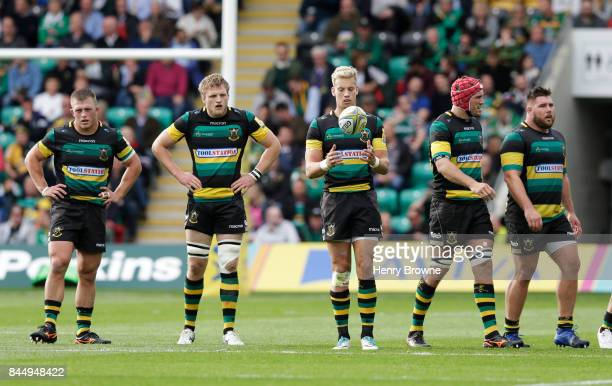 Harry Mallinder of Northampton Saints prepares to kick a penalty during the Aviva Premiership match between Northampton Saints and Leicester Tigers...