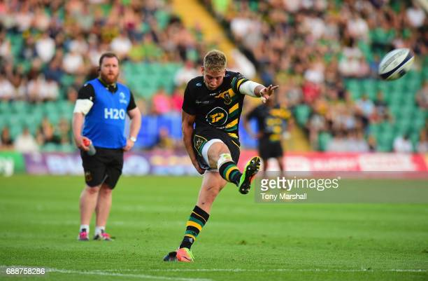 Harry Mallinder of Northampton Saints takes a penalty kick during the Champions Cup Playoff Final between Northampton Saints and Stade Francais at...