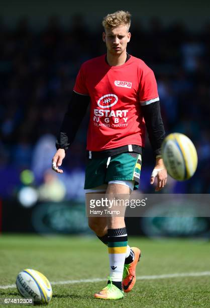 Harry Mallinder of Northampton Saints wears a restart rugby shirt during the Aviva Premiership match between Exeter Chiefs and Northampton Saints at...