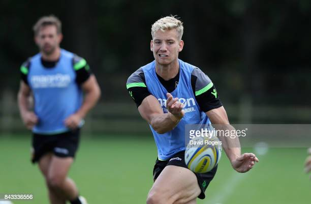 Harry Mallinder passes the ball during the Northampton Saints training session held at Franklin's Gardens on September 6 2017 in Northampton England