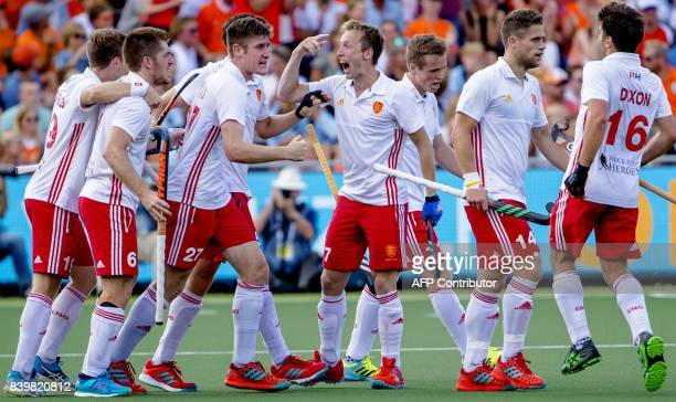 Harry Martin of England reacts after winning the match between Germany and England at the Rabo EuroHockey Championships 2017 in Amsterdam in The...