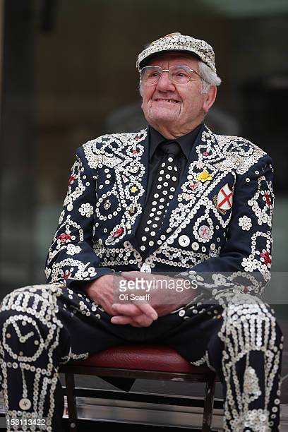 Harry Mayhead the Pearly King of Bow Bells celebrates the annual Harvest Festival in the Guildhall Yard on September 30 2012 in London England The...