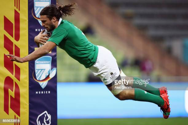 Harry McNulty of Ireland scores a try during the match between Ireland and chile on Day 1 of the Rugby Oktoberfest 7s tournament at Olympiastadion on...