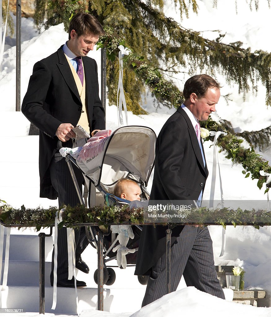 Harry Meade (L) attends the wedding of Laura Bechtolsheimer and Mark Tomlinson at the Protestant Church on March 2, 2013 in Arosa, Switzerland.