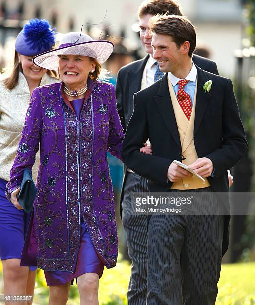 Harry Meade attends the wedding of Lucy Meade and Charlie Budgett at the church of St Mary the Virgin Marshfield on March 29 2014 in Chippenham...