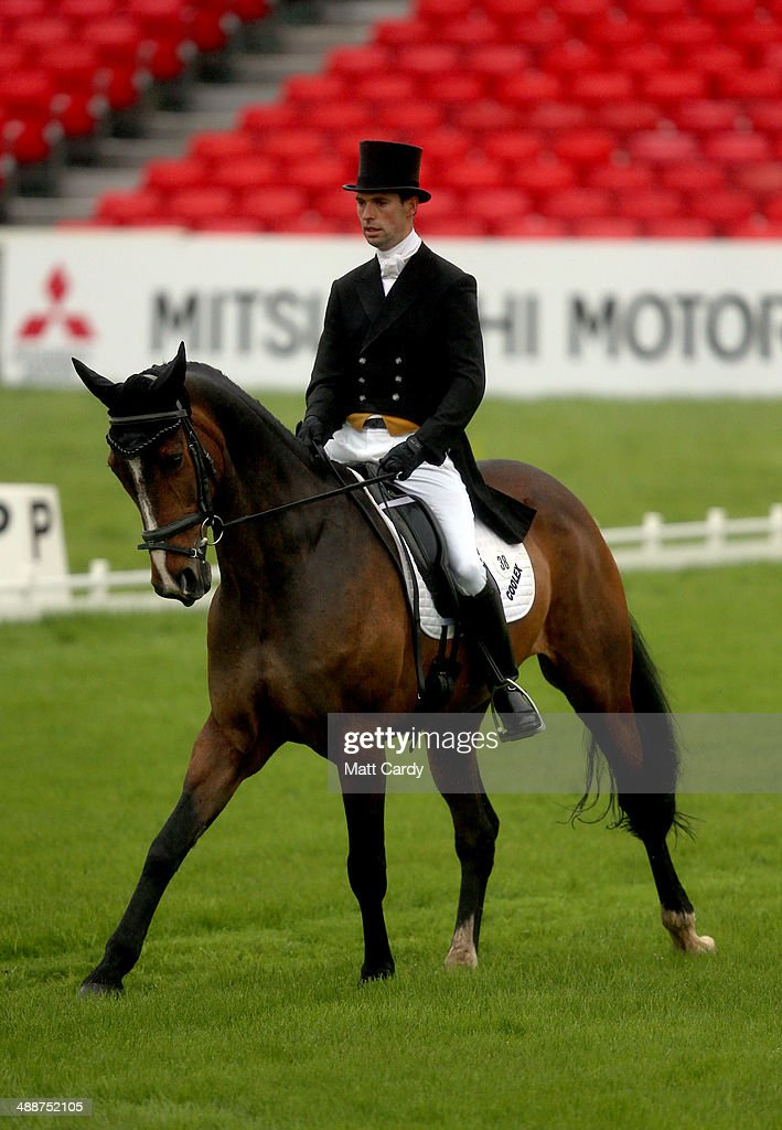 Harry Meade of Great Britain rides Wild Lone during the dressage section of the Badminton Horse Trials on May 8 2014 in Badminton Gloucestershire
