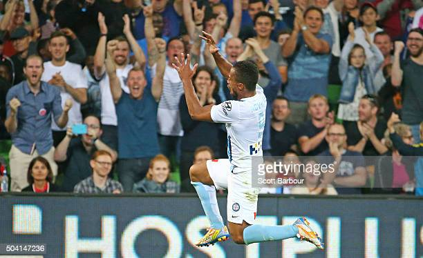 Harry Novillo of City FC celebrates after scoring their third goal and the matchwinning goal during the round 14 ALeague match between Melbourne City...