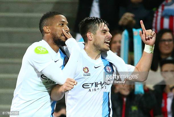 Harry Novillo of City FC celebrates with Bruno Fornaroli after scoring the first goal during the round 25 ALeague match between Melbourne City FC and...