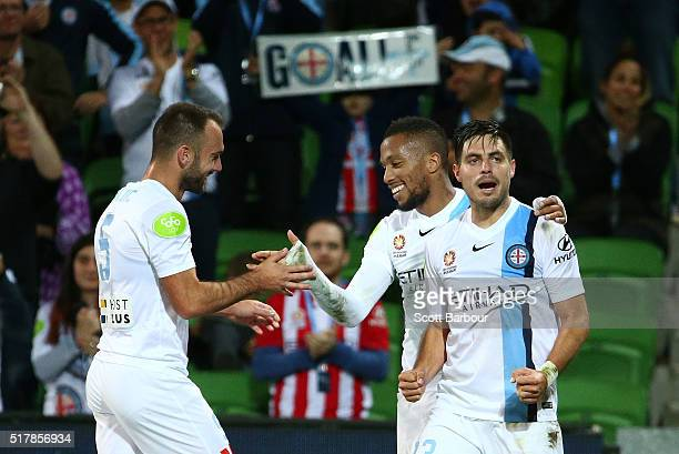 Harry Novillo of City FC celebrates with Bruno Fornaroli and Ivan Franjic after scoring the first goal during the round 25 ALeague match between...