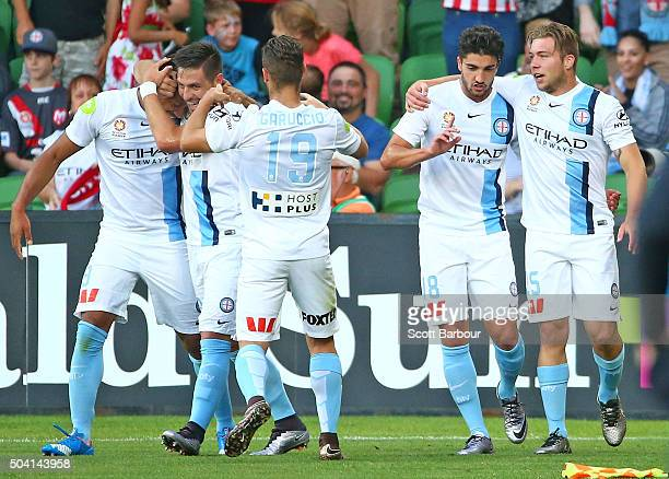 Harry Novillo of City FC is congratulated by his teammates after scoring the first goal during the round 14 ALeague match between Melbourne City FC...