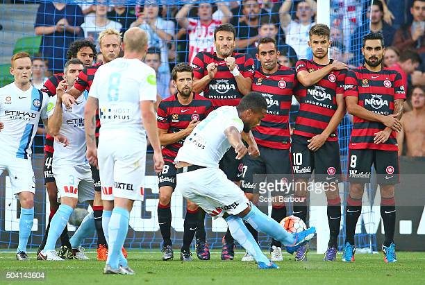 Harry Novillo of City FC takes a fee kick and beats the Wanderers wall to score the first goal during the round 14 ALeague match between Melbourne...