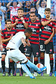 Harry Novillo of City FC takes a free kick and beats the Wanderers wall to score the first goal during the round 14 ALeague match between Melbourne...